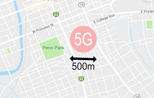 Overlay of 5g range on a Map